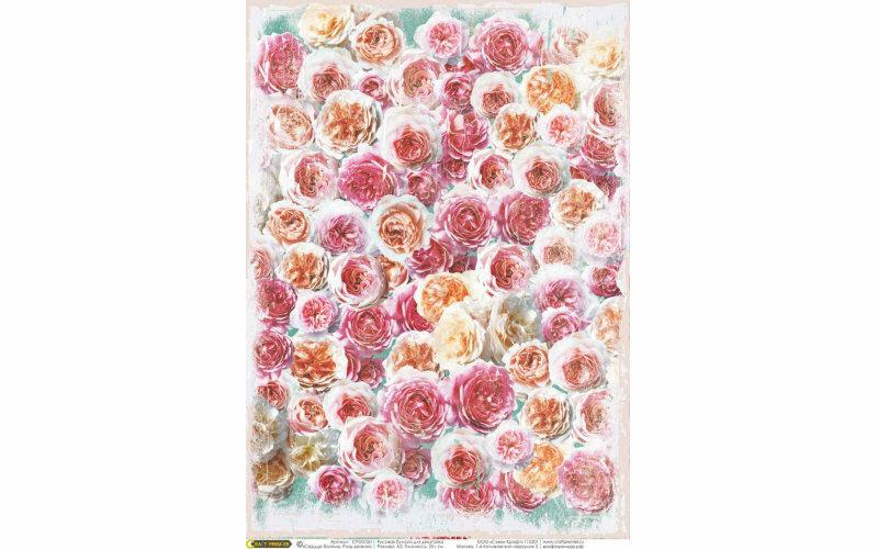 """Рисовая бумага CraftPremier. Плотность - 20 гр/кв.м., """"Сердце богемы. Розы кракле"""", размер А4"""