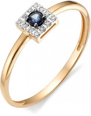 Кольцо с сапфиром, бриллиантами из красного золота