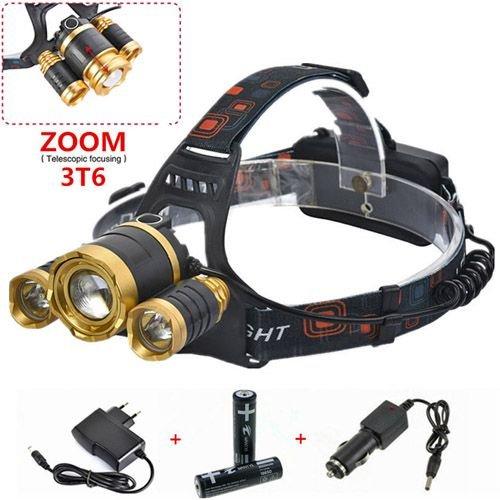 Мощный налобный светодиодный фонарь аккумуляторный c zoom