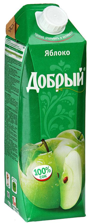 Сок Добрый яблочный 100% 1л