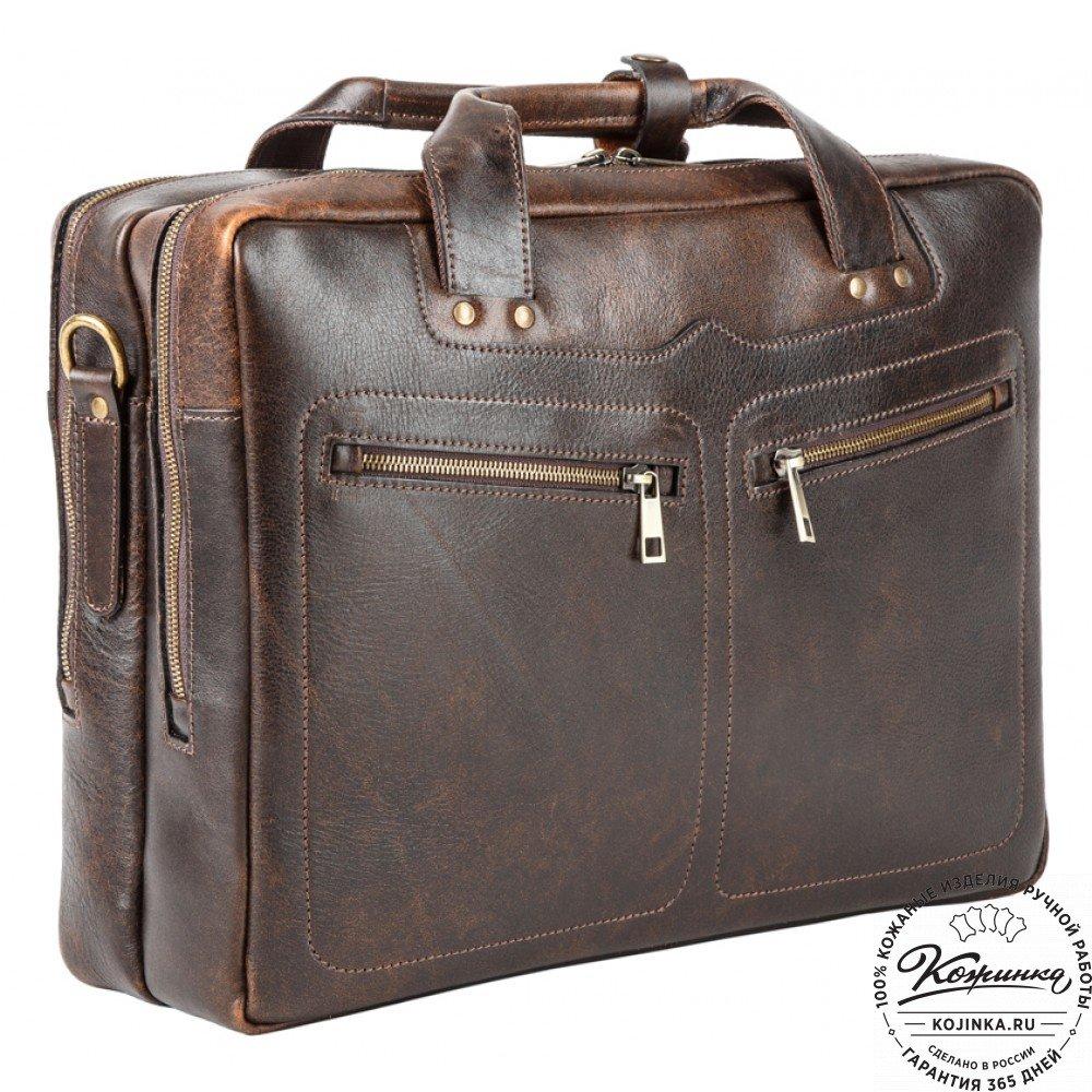 Кожаная мужская сумка-рюкзак