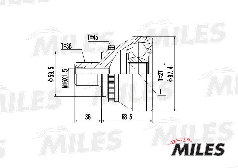 Шрус audi 80/100/a6 i/v8 2.5tdi-4.2 88-00 нар. +abs Miles GA20008