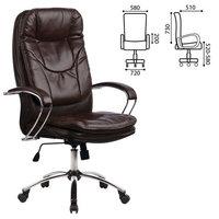 Кресло офисное метта LK-11CH, кожа, хром, коричневое, 85840 Метта