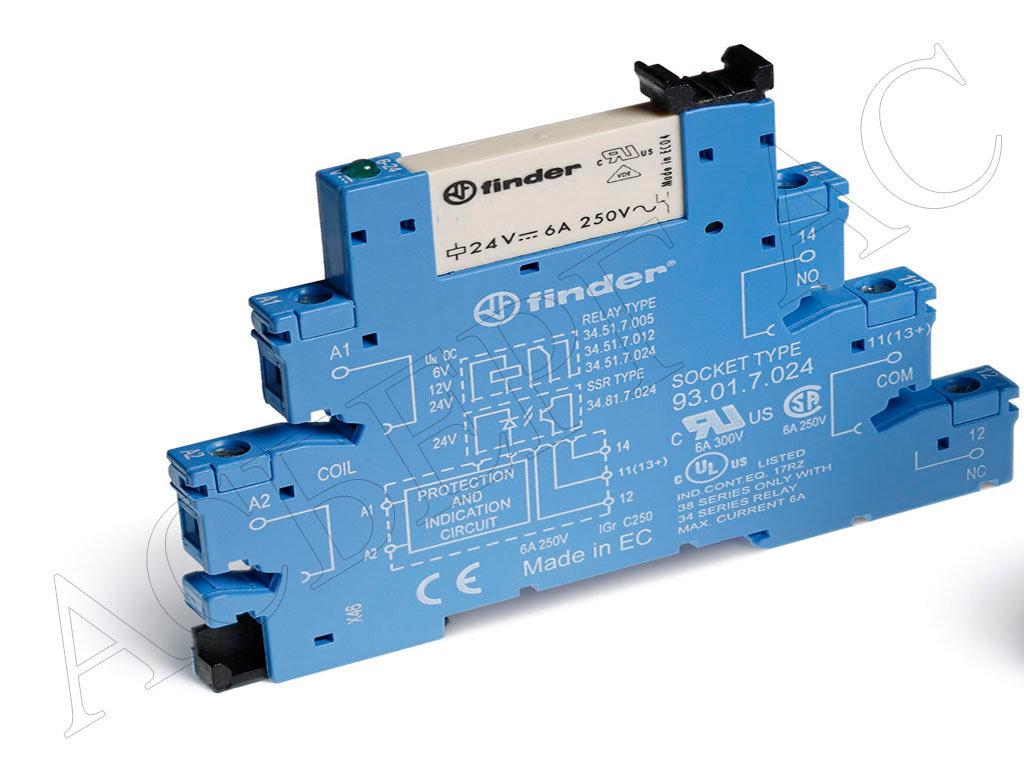 Перекидные реле (реле с перекидными контактами) Реле с 1 перекидным контактом (=24B DC) 6A, узкое ( 5мм) на DIN-рейку Finder