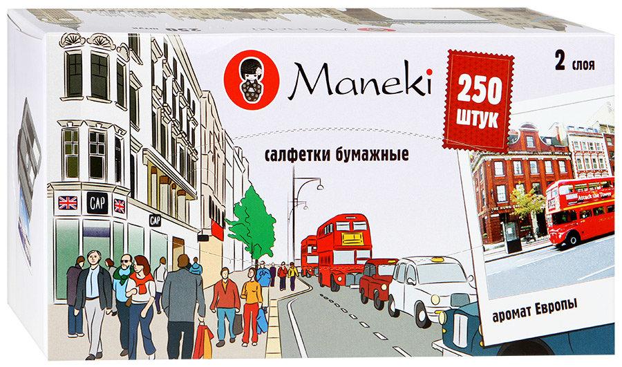 """Салфетки бумажные """"Maneki"""" Dream с ароматом Европы, 2 слоя, белые, 250 штуки"""