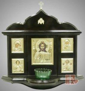 Киот настенный с 5-ю иконами и лампадой