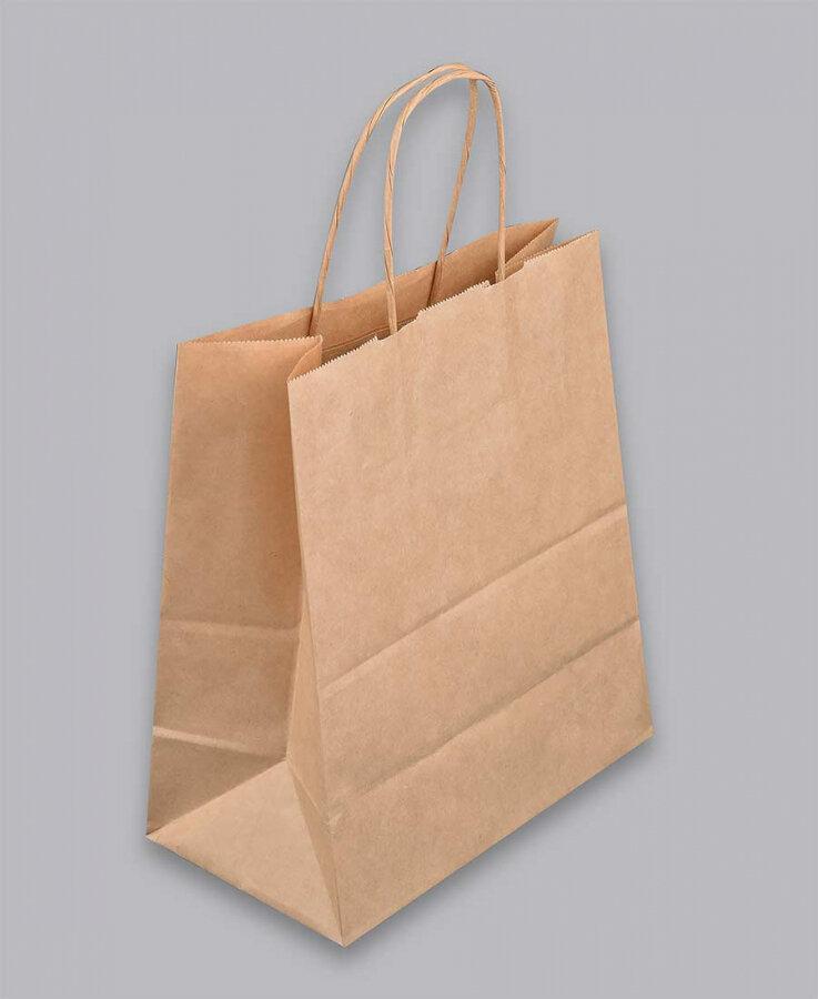 Крафт пакет бурый с кручеными ручками, 260*150*350 (Ш*Г*В)
