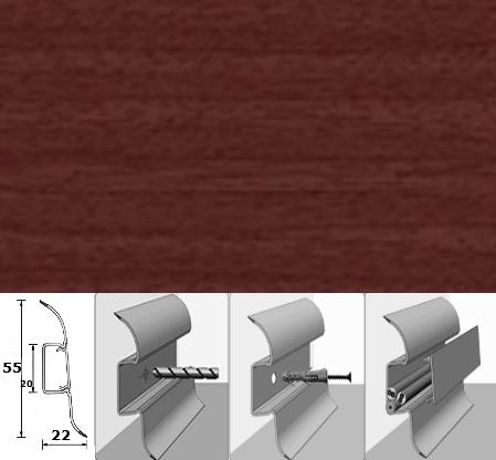 Напольный плинтус Идеал Комфорт (пластиковый с кабель-каналом) 346 Махагон 55/22 мм, 1 м.п.