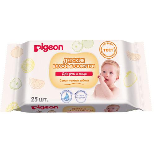 Pigeon Влажные салфетки для рук и лица 25 шт (Pigeon, Уход за малышом)
