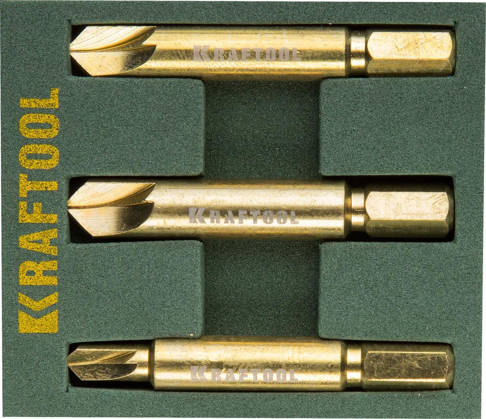 Набор экстракторов KRAFTOOL для выкручивания крепежа с износом граней шлица до 95%.PH1/PZ1,PH2/PZ2,PH3/PZ3,3 предмета , ( 26770-H3 )