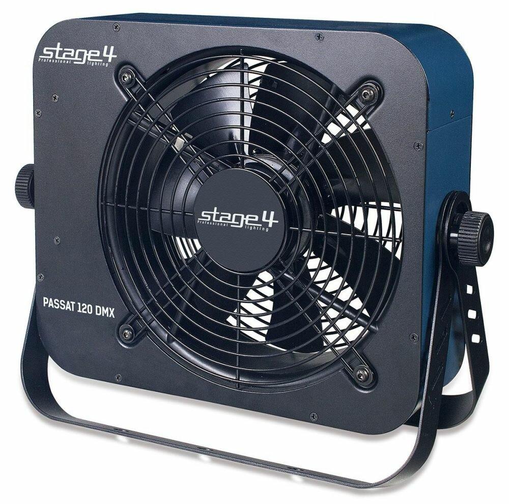 STAGE4 PASSAT 120 DMX. Вентилятор осевой конструкции мощностью 120 Ватт и производительностью 30 кубических метров в минуту. Цифровой дисплей для настройки параметров, управление: DMX-512, опциональный ПДУ VT-1, регулятор скорости вращения на корпусе устр