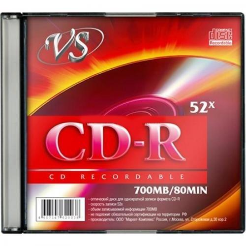 Диск CD-R VS 700Mb 52x, Slim Case