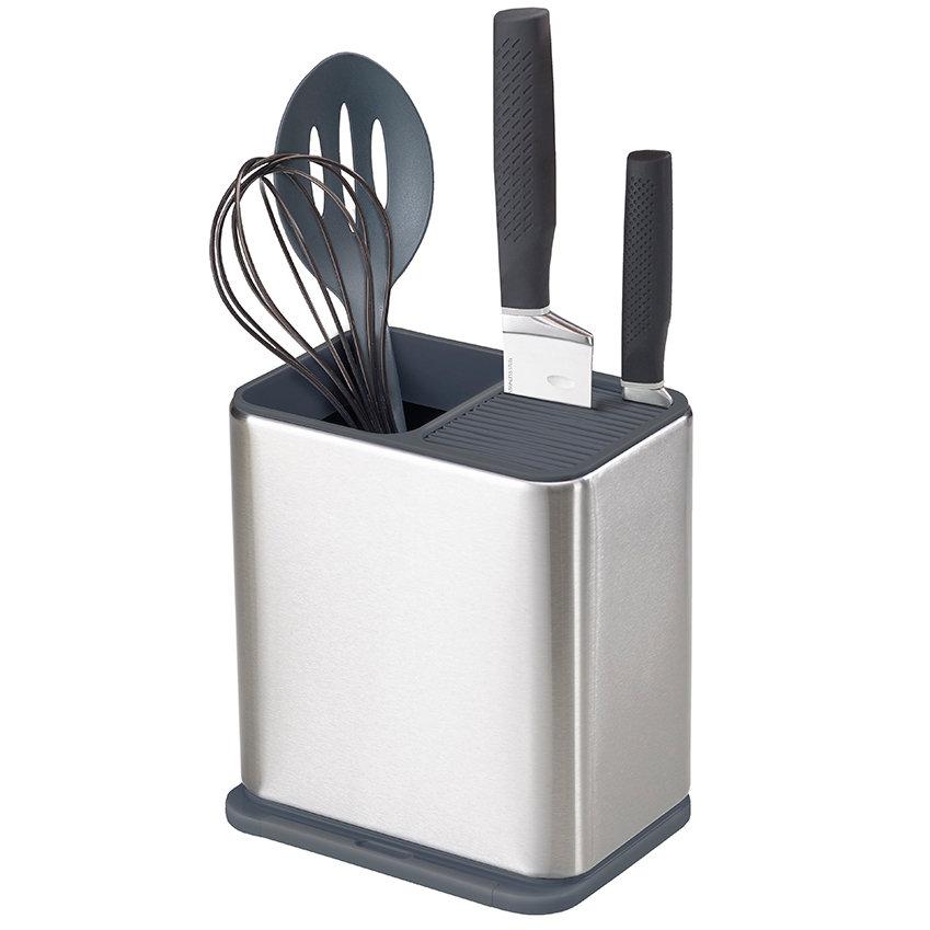 подставки для кухонных аксессуаров Joseph Joseph Органайзер для кухонной утвари и ножей Surface, 20 см, нержавеющая сталь/ABS-пластик, хром/черный