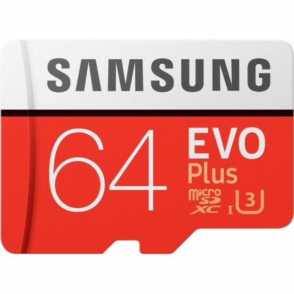 Карта памяти Samsung Evo Plus microSDXC 64Gb Class 10 UHS-I U3 (90/100MB/s) + ADP