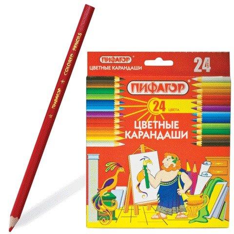 Карандаши цветные Пифагор, 24 цвета 180298