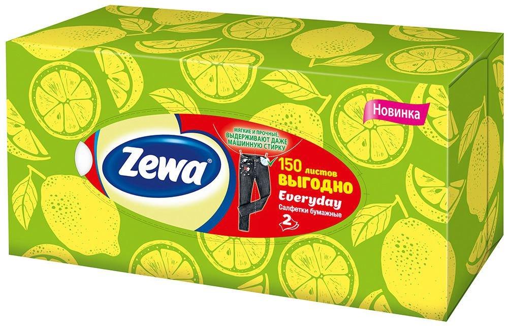 Салфетки бумажные косметические Zewa Everyday в ассортименте 2 слоя, 150 шт.