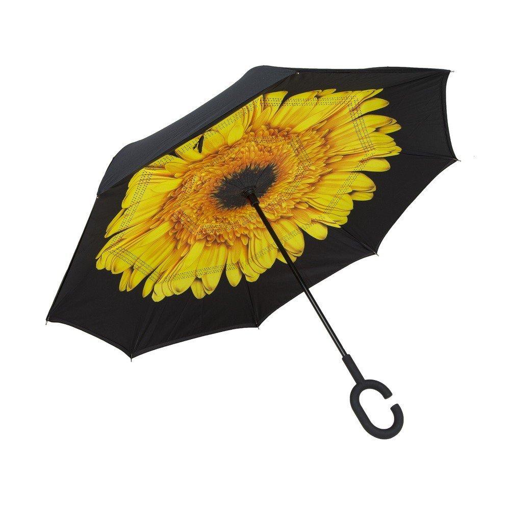 Зонт наоборот (обратный зонт) Up-brella цветок, желтый
