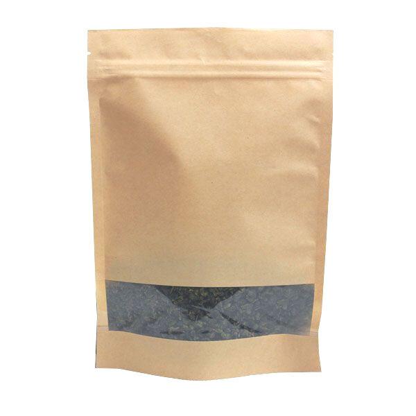 Крафт пакет дой-пак зип-лок 135*225мм окно 40мм (Гладкая бумага). В упаковке 100шт.