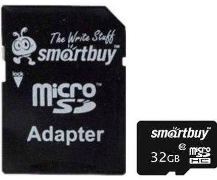 Карта памяти 32GB SmartBuy SB32GBSDCL10-01 micro SDHC class 10 (SD адаптер)