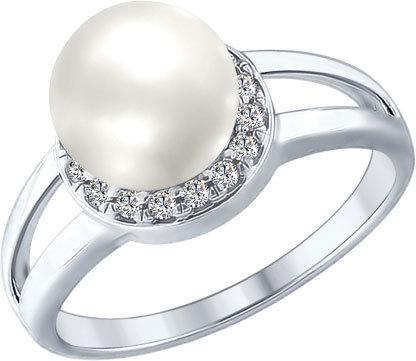 Серебряное кольцо SOKOLOV 94012353_s с искусственным жемчугом, фианитами, размер 18 мм