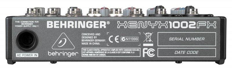 BEHRINGER 1002FX микшер, 2 моновхода, 4 стерео, 1 AUX-шина, процессор эффектов