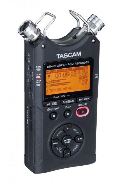 Tascam DR-40 портативный PCM стерео рекордер с встроенными микрофонами, Wav/MP3