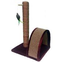 Когтеточка PerseiLine Когтеточка столбик + дуга джут/ковролин/игрушка 35х30х54см