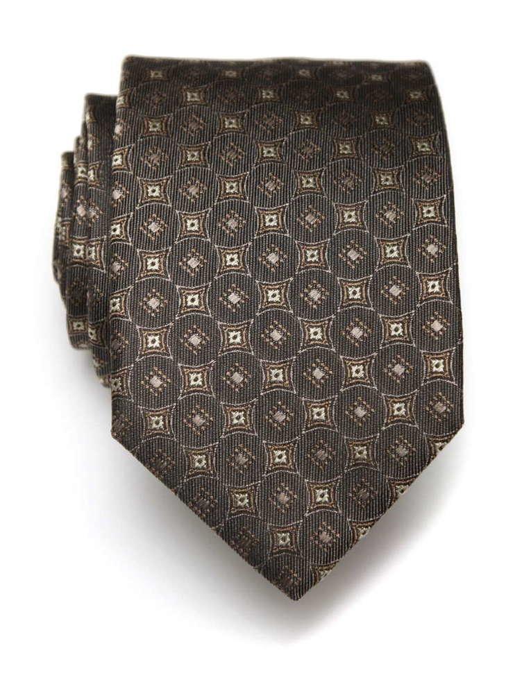 Красивый жаккардовый галстук в коричневых тонах ClubSeta 8097