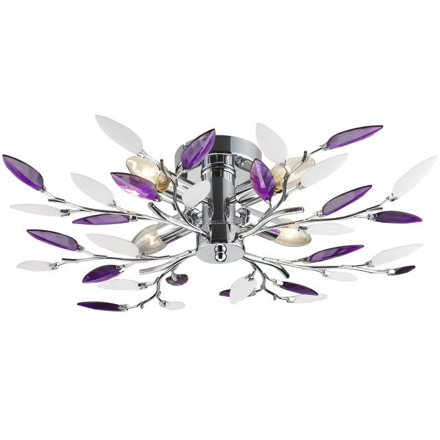 люстра потолочная LAMPLANDIA Jeny purple 4х40Вт Е14 металл хром