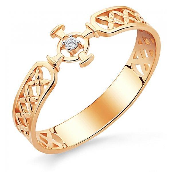 Кольцо православное из золота 585 пробы с фианитом, арт АЛМ-06
