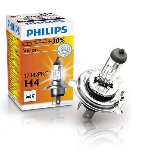 Лампа галогенная PHILIPS H4 Vision 12V 60/55W, 1шт, 12342PRC1