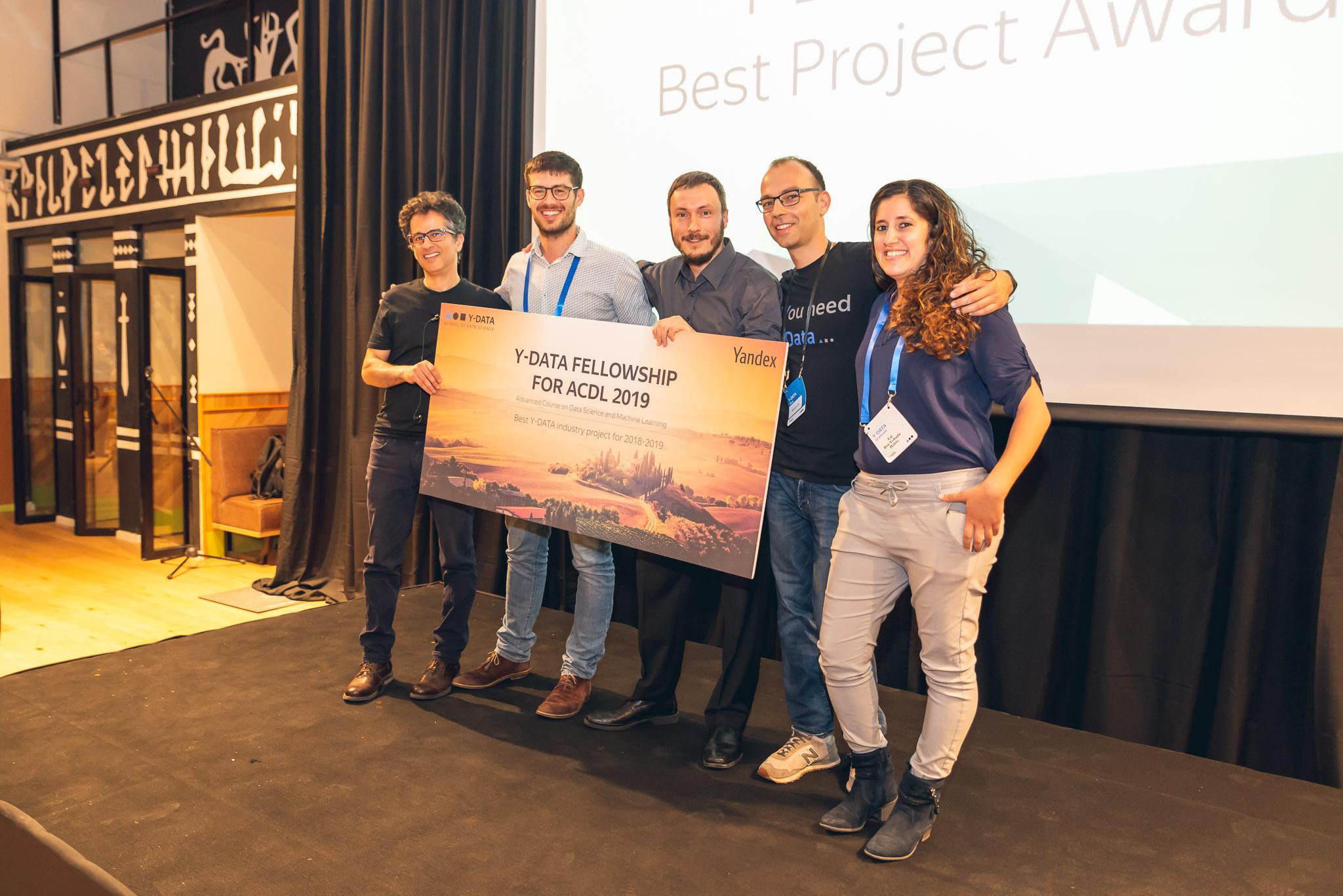 Слева направо: Шломо Кашани (ментор команды), Роман, Илья, Костя Килимник (куратор Y-DATA), Таль.