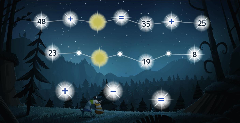 В этих созвездиях Зебра зашифровала равенства. За золотыми звёздами она спрятала одинаковые числа. Расставь знаки так, чтобы второе равенство стало верным.
