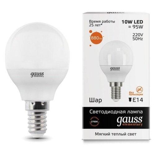 цена на Лампа светодиодная gauss 53110, E14, G45, 10Вт