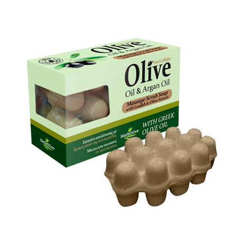 Мыло HerbOlive массажное для пилинга с маслом арганы против целлюлита 100 г сауна против целлюлита