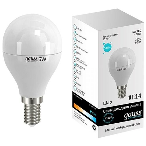 Лампа светодиодная gauss 53126, E14, G45, 6Вт лампа светодиодная gauss 105101210 e14 g45 9 5вт