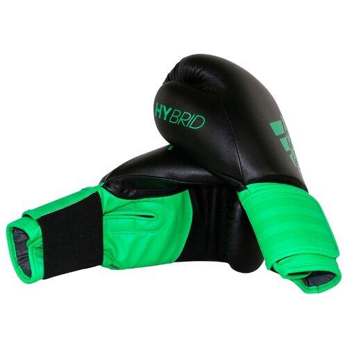 Боксерские перчатки adidas Hybrid 100 черный/зеленый 10 oz