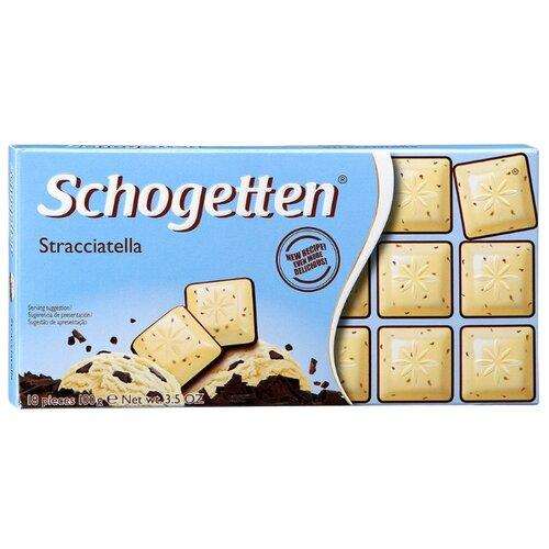Шоколад Schogetten Stracciatella белый с какао-крупкой и горький, 100 г