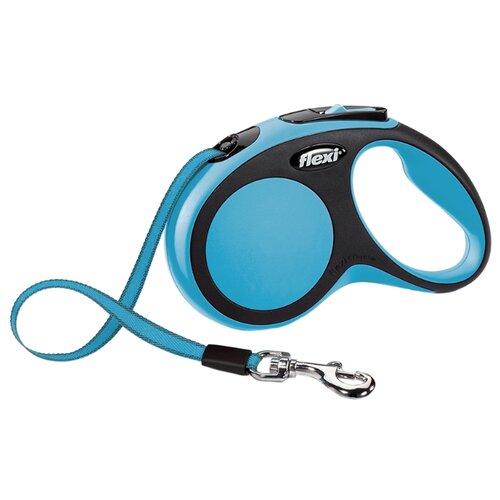 Поводок-рулетка для собак Flexi New Comfort S ленточный голубой/черный 5 мПоводки для собак<br>