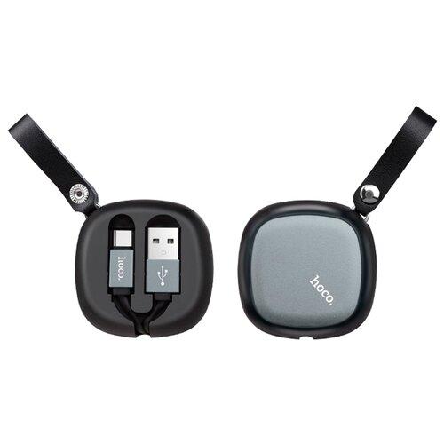 Кабель Hoco U33 Retractable USB - USB Type-C 0.9 м черныйКомпьютерные кабели, разъемы, переходники<br>