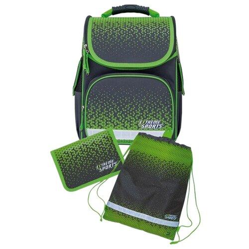 Купить Феникс+ Ранец Геометрия с наполнением, серый/зеленый, Рюкзаки, ранцы