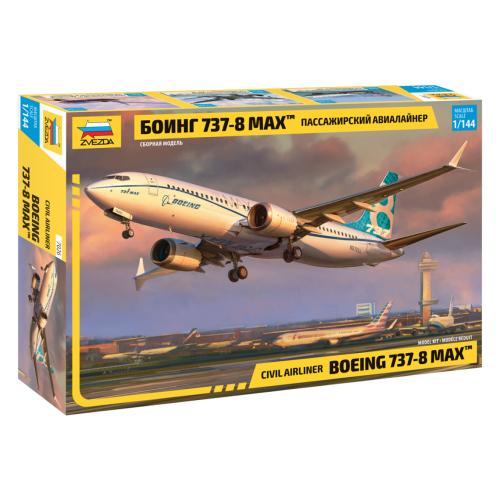 Купить Сборная модель ZVEZDA Пассажирский авиалайнер Боинг 737-8 Max (7026) 1:144, Сборные модели
