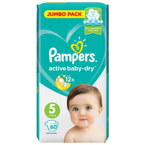 Pampers подгузники Active Baby-Dry 5 (11-16 кг) 60 шт. подгузники pampers active baby dry 5 11 16 кг 60 шт