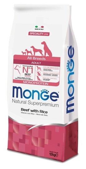 Корм для собак Monge Speciality Line – Говядина с рисом. Монобелковый рацион для собак