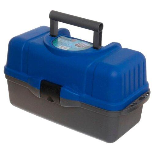 Ящик для рыбалки HELIOS трехполочный 43х22х24см синий/серый