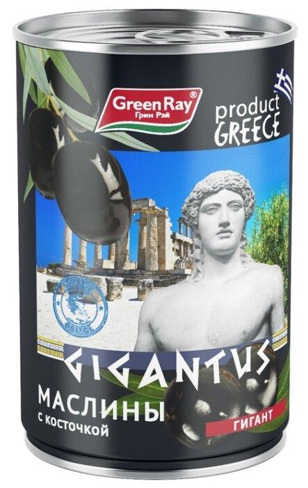 Green Ray Маслины Гигант c косточкой в рассоле, жестяная банка 425 мл