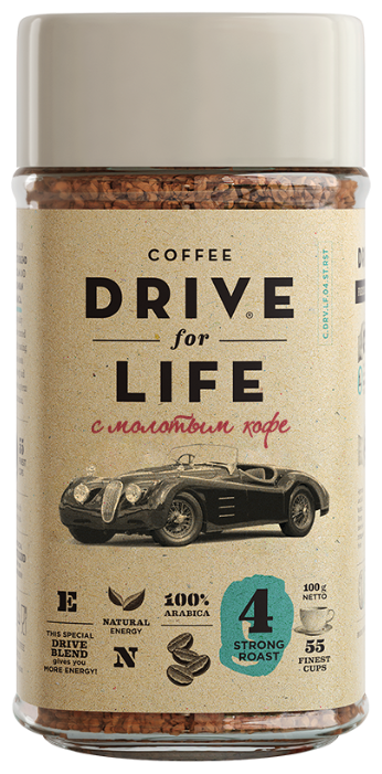 Кофе растворимый DRIVE for LIFE Strong с молотым кофе, стеклянная банка