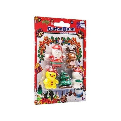 Бумбарам ластик-пазл Новый год разноцветныеЛастики<br>