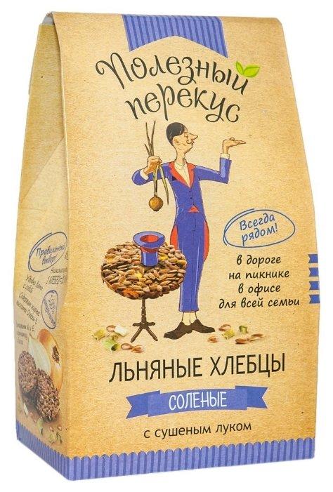Хлебцы льняные Полезный перекус соленые с сушеным луком 100 г