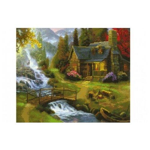Купить Рыжий кот Набор алмазной вышивки Домик у горного водопада (ACJ001) 60х50 см, Алмазная вышивка